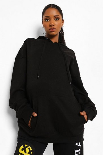 Black Maternity Oversized Pocket Front Hoody