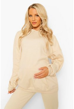 אבן Beige Maternity Oversized Pocket Front Hoody