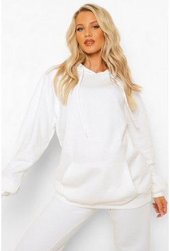 לבן White Maternity Oversized Pocket Front Hoody