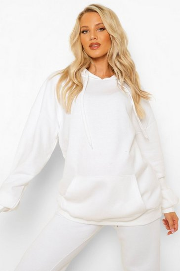 White Maternity Oversized Pocket Front Hoody