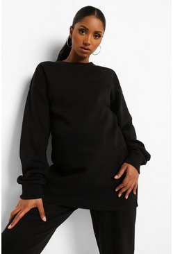 Black Maternity Oversized Crew Neck Sweat Top