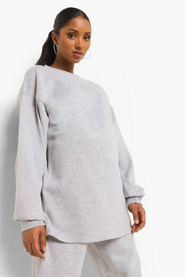 Grey marl grey Grey Maternity Oversized Crew Neck Sweat Top