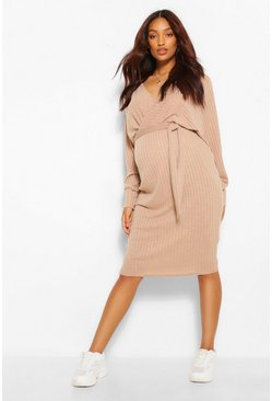 Camel beige Maternity Knitted Rib Wrap Jumper Dress
