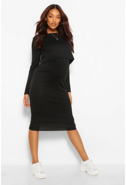Black Maternity Double Layer Knitted Nursing Dress