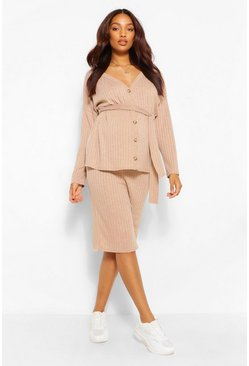 Camel Maternity Knitted Rib Jumper And Skirt Co-Ord
