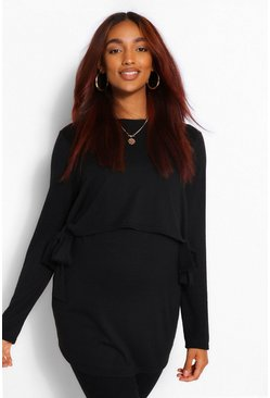 Black Maternity Tie Side Nursing Knitted Jumper