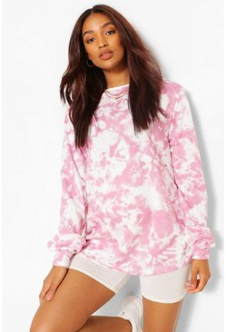 Pink Maternity Tie Dye Sweat Top