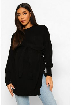 Black Maternity Side Split Knitted Tie Waist Jumper