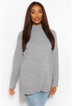 Grey marl Maternity Side Split Knitted Jumper