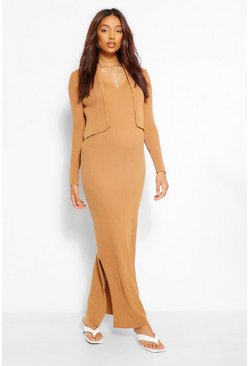 Camel beige Maternity Knitted Dress And Cardigan Co-Ord Set
