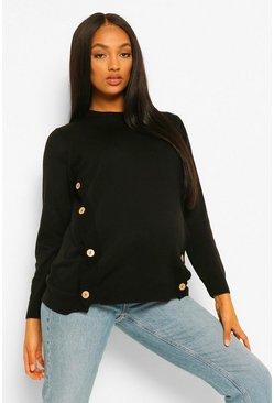 Black Maternity Button Side Nursing Jumper