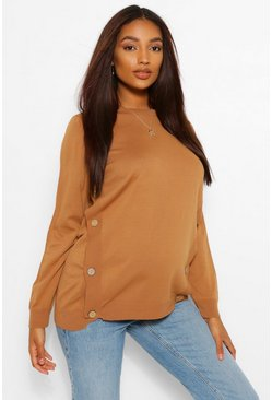 Camel beige Maternity Button Side Nursing Jumper