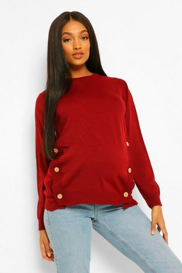Wine red Maternity Button Side Nursing Jumper