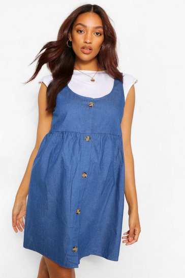 Mid blue blue Maternity Button Chambray Smock Pinafore Dress