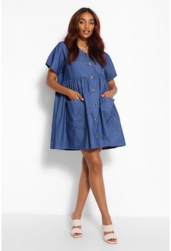 Mid blue Maternity Button Chambray Pocket Smock Dress