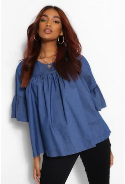 Mid blue Maternity Chambray Smock Top