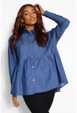 Mid blue blue Maternity Chambray Smock Shirt