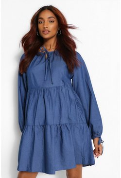 Mid blue Maternity Tie Sleeve Denim Tiered Smock Dress
