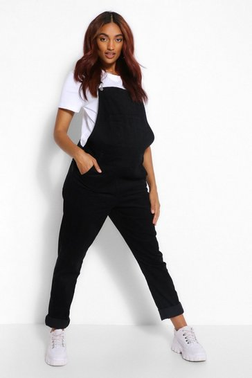 Black Maternity Cord Dungaree