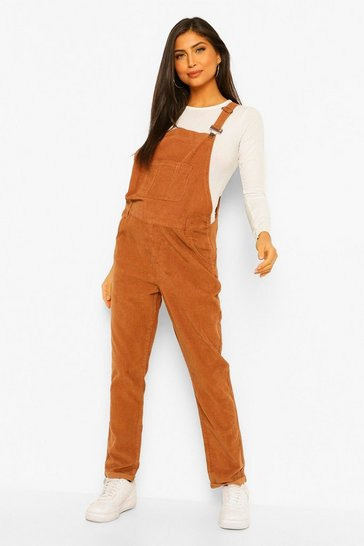 Camel beige Maternity Cord Dungarees