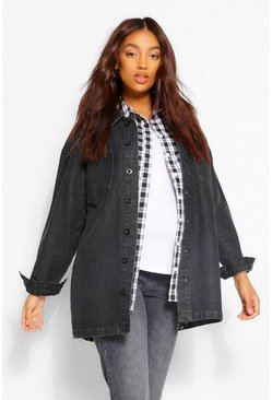 Washed black Maternity Acid Wash Twill Shacket