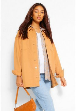 Camel Maternity Twill Shacket