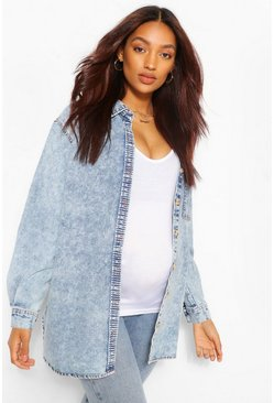 Mid blue blue Maternity Acid Wash Denim Shirt