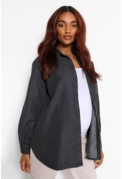 Charcoal grey Maternity Acid Wash Denim Shirt