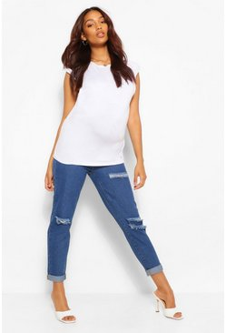 Mid blue Maternity Over The Bump Ripped Boyfriend Jeans