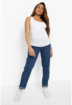 Mid blue blue Maternity Roll Hem Over The Bump Boyfriend Jeans