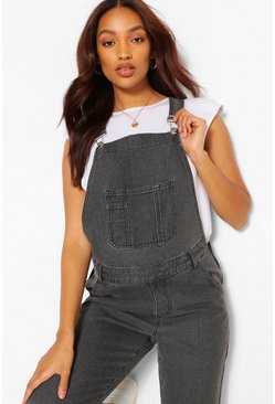 Charcoal Maternity Acid Wash Dungaree