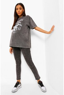 Charcoal Maternity Acid Wash Over The Bump Skinny Jean