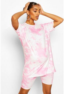 Pale pink pink Maternity Tie Dye Cycling Short