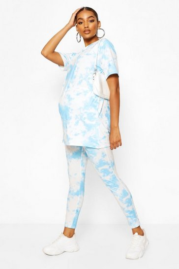 Pale blue Maternity Tie Dye Legging