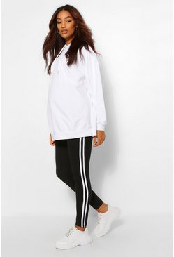 Black Maternity Side Stripe Over The Bump Legging