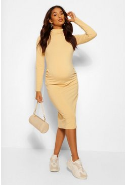 Camel beige Maternity Roll Neck Midi Dress