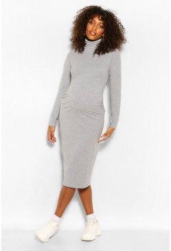 Grey marl grey Maternity Roll Neck Midi Dress
