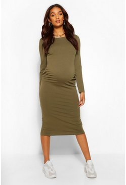 Khaki Maternity Crew Neck Midi Bodycon Dress