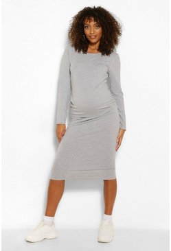 Grey marl grey Maternity Long Sleeve Midi Bodycon Dress