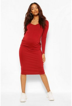 Wine red Maternity V Neck Long Sleeve Midi Dress