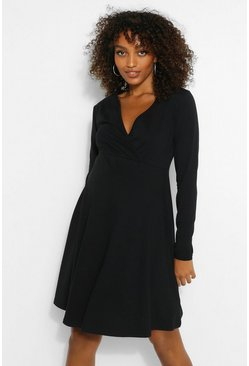 Black Maternity Wrap Skater Dress