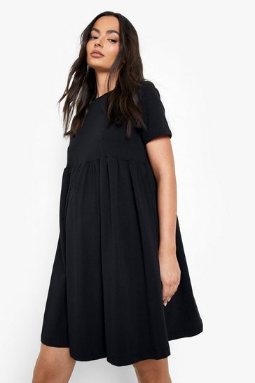 Black Maternity Crew Neck Smock Dress