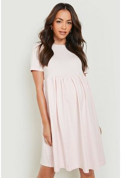 Blush pink Maternity Crew Neck Smock Dress