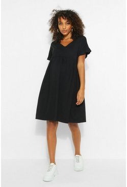 Black Maternity V Neck Smock Dress