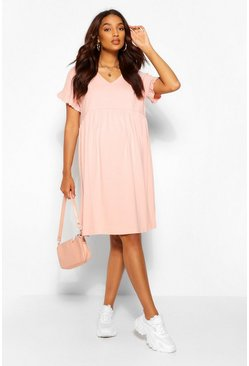 Blush pink Maternity V Neck Smock Dress
