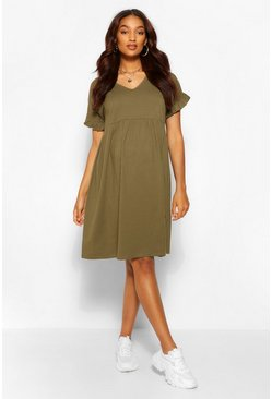 Khaki Maternity V Neck Smock Dress