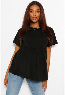 Black Maternity Crew Neck Smock Top