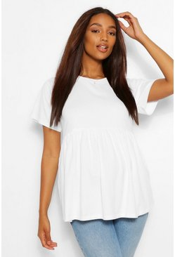 White Maternity Crew Neck Smock Top