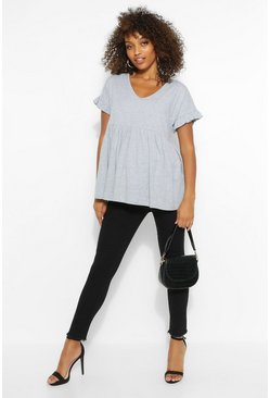 Grey marl grey Maternity V Neck Smock Top