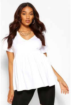 White Maternity V Neck Smock Top